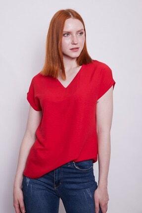 Jument Iç Göstermez Viskon Poplin V Yaka Kısa Kol Bluz -kırmızı