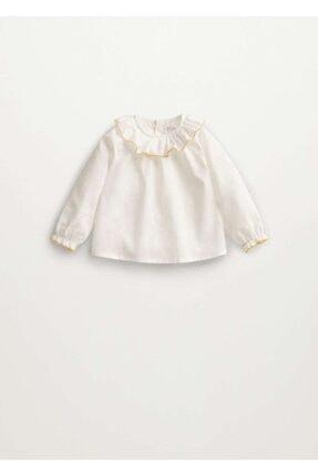 MANGO Baby Unisex Bebek Beyaz Koton Bluz