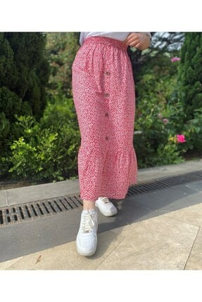 Betimoda Çiçekli Düğme Detaylı Beli Lastikli Uzun Etek Kırmızı