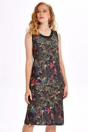 İKİLER Yakası Ve Kolları Simli Bantlı Desenli Elbise 020-2535