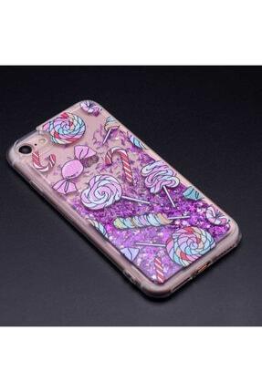 Apple Iphone 6 - 6s Kılıf Sıvılı Sulu Akışkanlı Renkli Simli Desenli Silikon