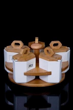 ACAR 10141 Döner Bambu Stantlı 5 Parça Porselen Baharat Takımı