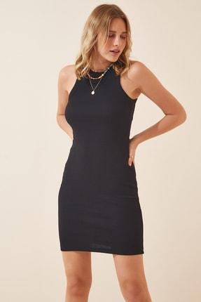 Happiness İst. Kadın Siyah Fitilli Yazlık Mini Örme Elbise FF00061