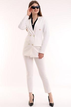 Tuba Style Cep Kapamalı Düğmeli Ceket Dar Paça Kemerli Toparlayıcı Pantolon Likralı Blazer Takım Elbise