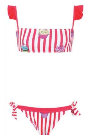 Kom Cupcakeli Çizgili Fırfır Detaylı Kız Çocuk Bikini Takımı