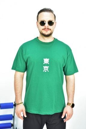 Escetic Erkek Yeşil Basic Oversize Bisiklet Yaka Kısa Kollu T-shirt