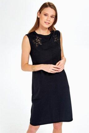 İKİLER Kadın Siyah Göğsü Tül Ve Nakışlı Kolsuz Elbise 019-03-2508