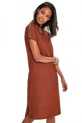 İKİLER Kadın Kahverengi V Yaka Omuzları Şeritli Elbise 190-2510