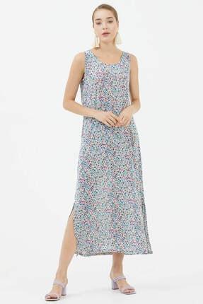 Sementa Kalın Askılı Çiçekli Elbise - Mor