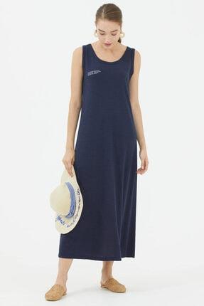Sementa Rahat Kalıp Askılı Uzun Penye Elbise - Lacivert