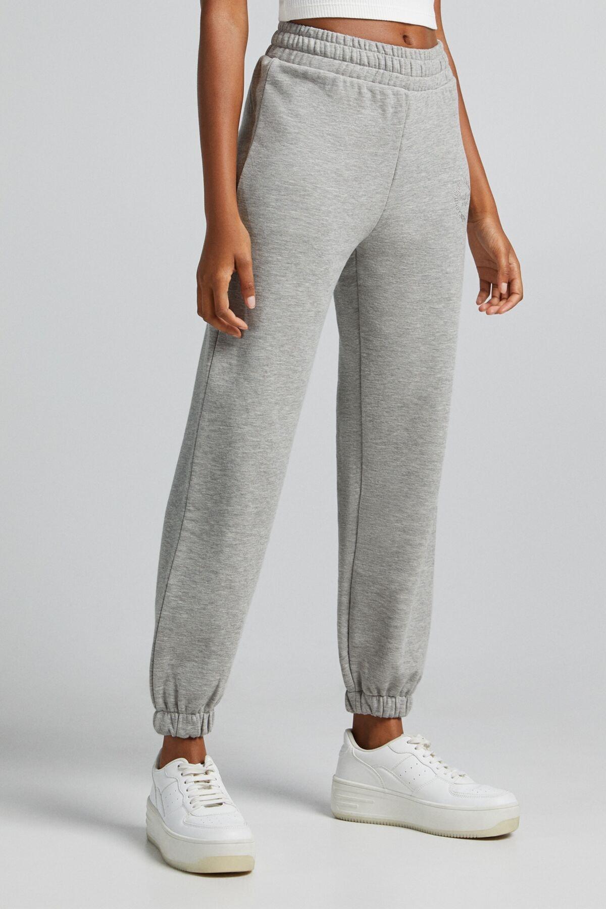 Bershka Kadın Gri Koton Jogging Fit Pantolon