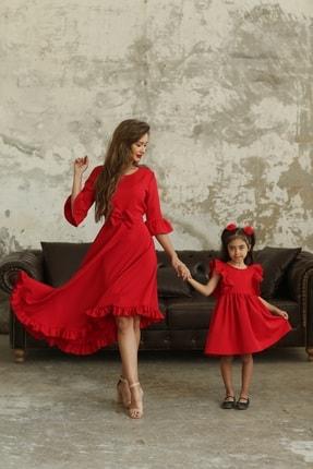 KÜÇÜĞÜM BUTİK Kırmızı Fırfırlı Asimetrik Anne Kız Kombini