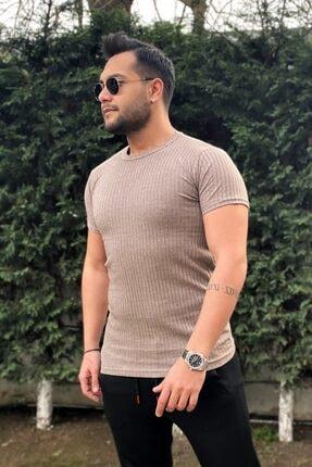VİP LOKAL Erkek Slim Fit Bej Triko Tshirt
