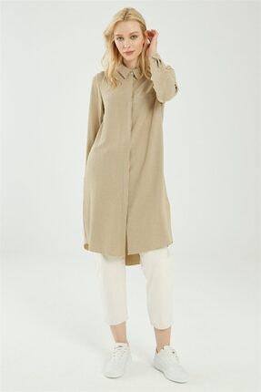 Zühre Kadın Gömlek Yaka Çizgili Bej Tunik T-0767