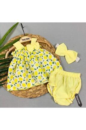 BYMURAT BABY Kız bebek Sarı Mandalina Baskılı Takım