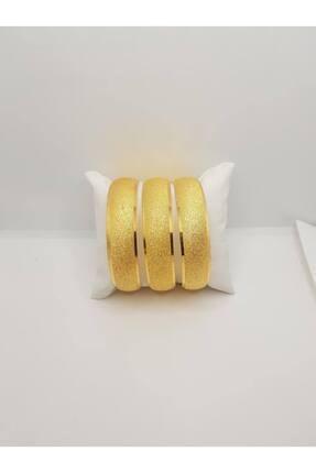 yılmaz gold 24 Ayar Altın Kaplama 1.5 Cm Simli Yanları Şerit Demo Bilezik