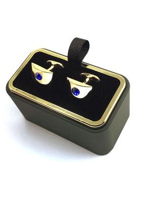 Kravatkolik Altın Renk Mavi Taşlı Dikdörtgen Kol Düğmesi Kd1264