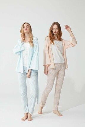 Feyza Pijama Pamuklu 3'lü Kadın Sabahlık Ve Pijama Takımı Mavi
