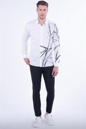Efor G 1450 Slim Fit Beyaz Spor Gömlek