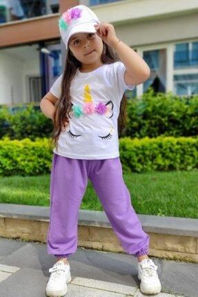 Riccotarz Kız Çocuk Şapkalı Unicorn Lila Eşofman Takım