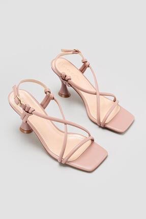 Limoya Cornelia Somon Yüksek Topuklu Ince Bantlı Sandalet