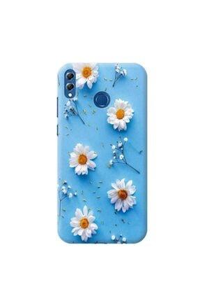 Desing World Huawei Honor Y7 2019 Mavi Zemin Papatya Tasarımlı Telefon Kılıfı Pap11