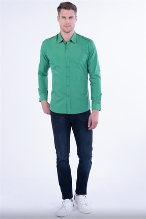 Efor Gk 597 Slim Fit Yeşil Klasik Gömlek