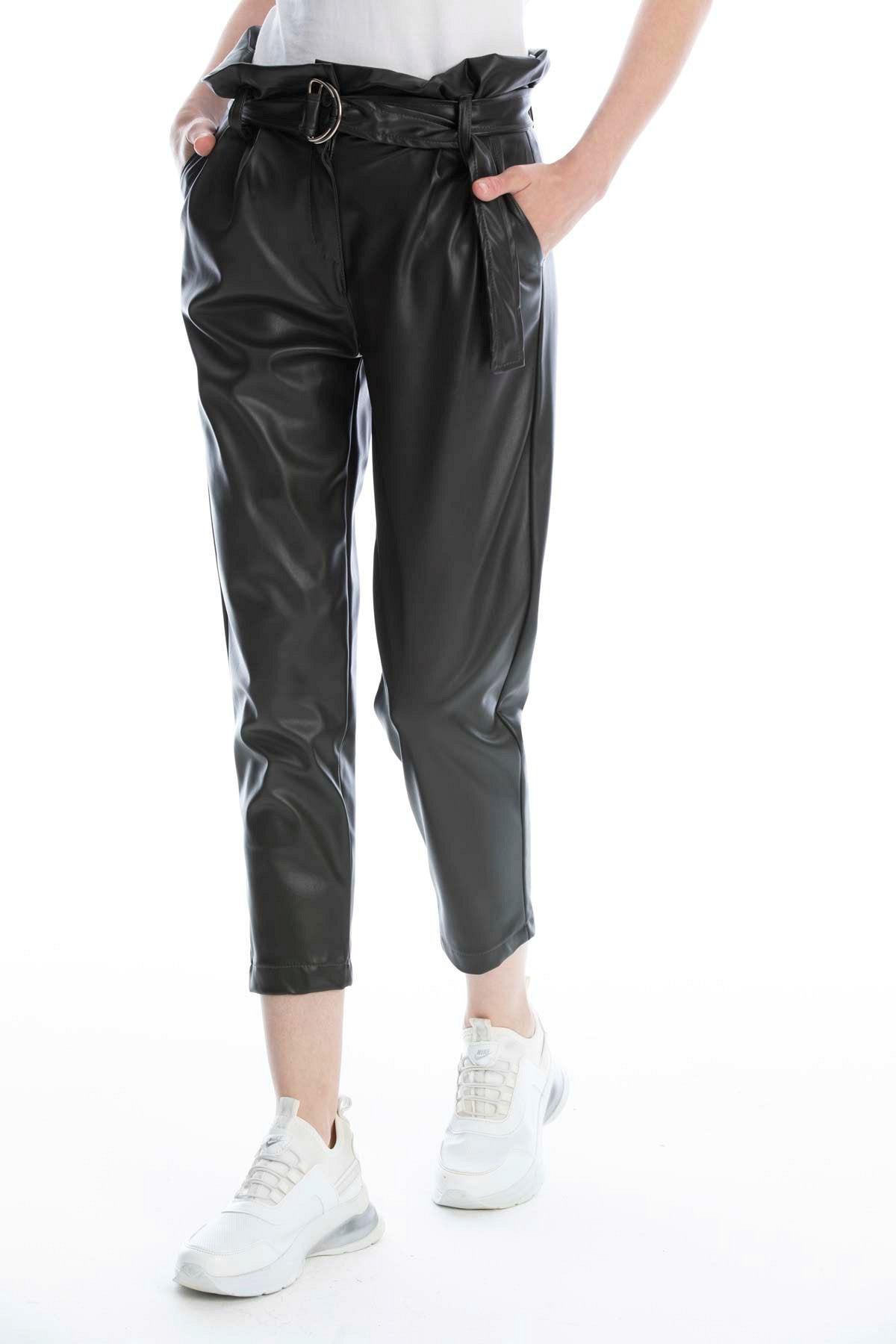 Makferlan Kadın Haki Beli Tokalı Kemerli Fırfırlı Yanlar Çift Cepli Suni Deri Pantolon 2