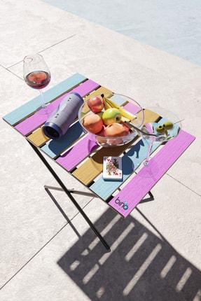 Bino Katlanır Mutfak Masası Yükseklik Ayarlı Ahşap Kamp Masası Piknik Masası Balkon Masası Renkli