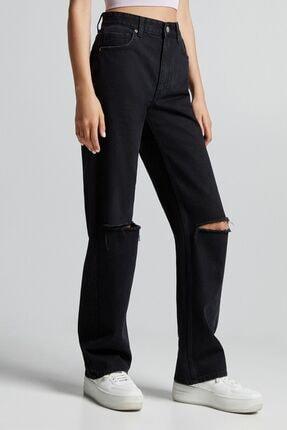 Bershka Distressed Yüksek Bel Straight Fit Jean