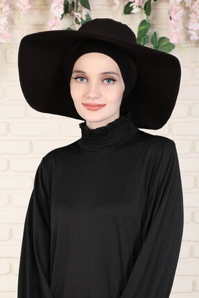 Ayşe Tasarım Kadın Siyah Şapkalı Bone Plaj Şapkası