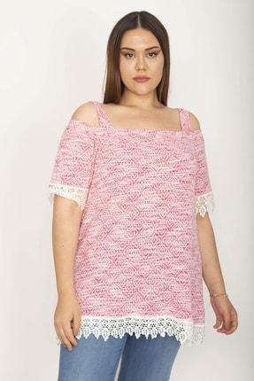 Şans Kadın Pembe Yakası Lastik Detaylı Kol Ve Etek Ucu Dantelli Askılı Bluz 65N26350