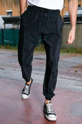 Sateen Men Erkek Siyah Paraşüt Kumaş Jogger Pantolon