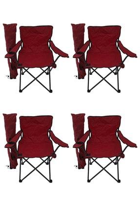 Bofigo 4'lü Kamp Sandalyesi Piknik Sandalyesi Katlanır Sandalye Taşıma Çantalı Kamp Sandalye Kırmızı