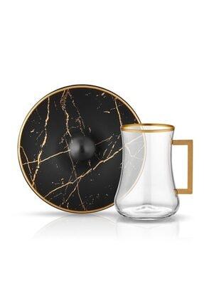 Koleksiyon1 Koleksiyon Dervish Kulplu Çay Seti 6'lı Mermer Siyah