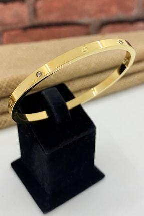 Esra Pamir Çelik Kelepçe Taşlı Ince Altın Renk Cartier Bileklik
