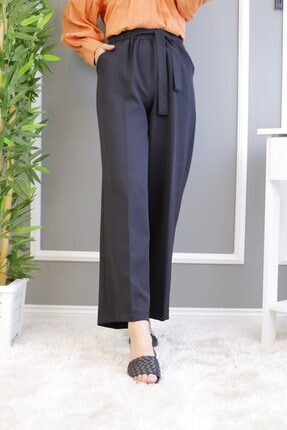 İmajButik Kuşak Detaylı Bol Paça Pantolon-siyah