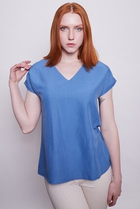 Jument Iç Göstermez Viskon Poplin V Yaka Kısa Kol Bluz -indigo