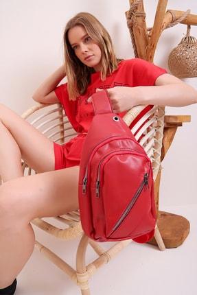 Trend Alaçatı Stili Kadın Kırmızı Çift Gözlü Tek Omuz Sırt Çantası