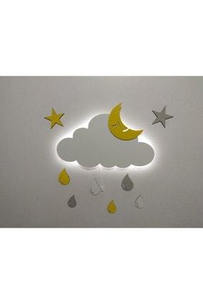 fabrikahşap Işıklı Bulut Ahşap Gece Lambası Ledli Dekoratif Aydınlatma Çocuk Odası