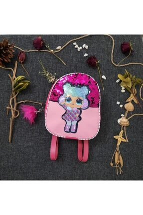 BlueDepo Lol Bebek Figürlü Payetli Işıklı Ponponlu Kız Çocuk Sırt Çantası