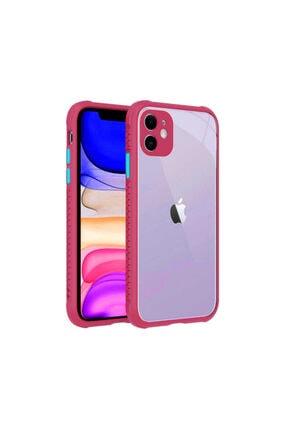 Apple Iphone 11 Uyumlı Kılıf Kamera Ve Köşe Kormalı Şeffaf Arka Yüzey Renkli Kenarlı Silikon