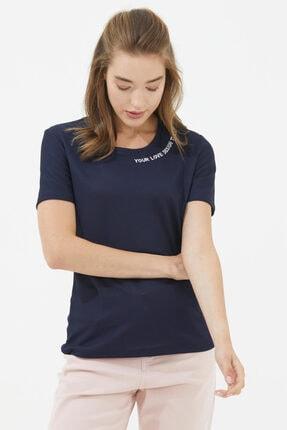 Sementa Yakası Nakış Detaylı Bluz - Lacivert