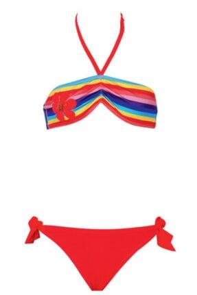 Kom Gökkuşaklı Boyundan Bağlamalı Kız Çocuk Bikini Takımı