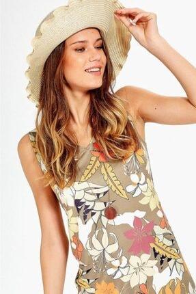 İKİLER Kadın Bej V Yaka Kolsuz Desenli Elbise 019-04-2529