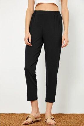 İKİLER Kadın Siyah Beli Lastikli Pantolon 021-2002
