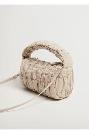 MANGO Woman Büzgülü Keten Çanta