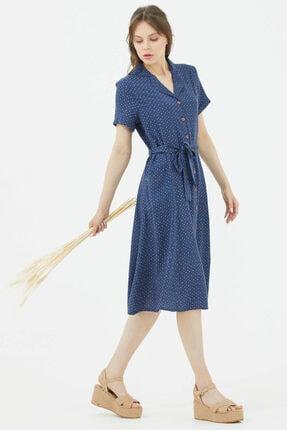 Sementa Gömlek Yaka Önden Düğmeli Elbise - Lacivert