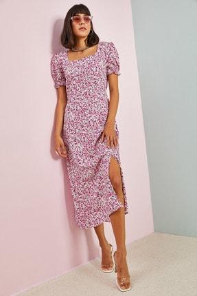 Bianco Lucci Kadın Fermuarlı Yırtmaçlı Viskon Elbise