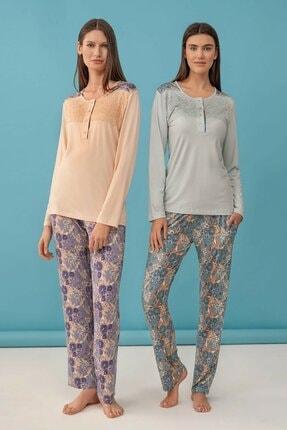 Feyza Pijama Çiçek Baskılı Kadın Pijama Takımı Mavi